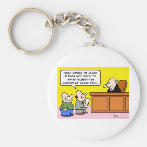 not guilty by reason of sarah palin basic round button keychain