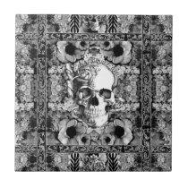 Not here, ornate skull and poppies pattern ceramic tile