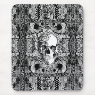 Not here, ornate skull and poppies pattern mouse pad