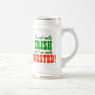 Not Irish Just Wasted Drinking 18 Oz Beer Stein