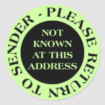 Not Known at this Address - II Pale Green Classic Round Sticker