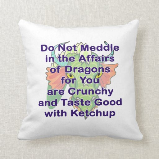 Not meddle purple dragon head throw pillows