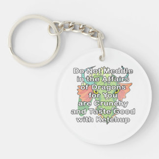 Not meddle white dragon head keychain