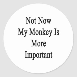 Not Now My Monkey Is More Important Classic Round Sticker