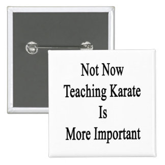 Not Now Teaching Karate Is More Important Pinback Button