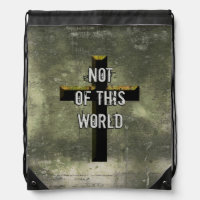 Not of This World Christian Jesus Cross Drawstring Bag