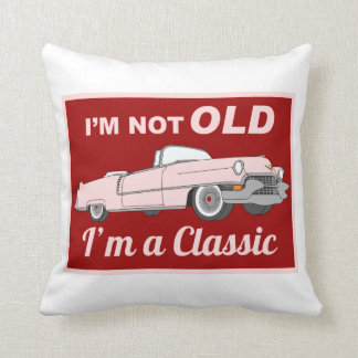 Not Old but Classic pink Throw Pillow