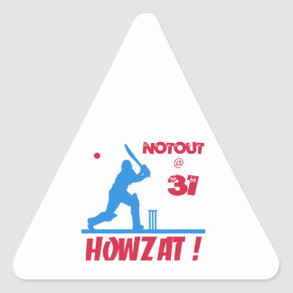 Not out at 31 triangle sticker