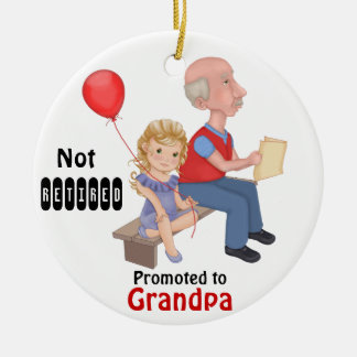 Not Retired Promoted Grandpa - Customize Back Christmas Ornaments