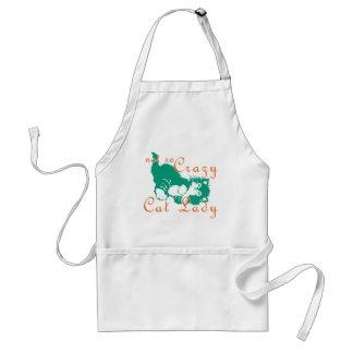 Not So Crazy Cat Lady Green Adult Apron