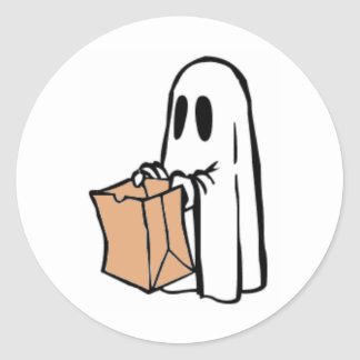 Not So Spooky Halloween Ghost Trick or Treater Classic Round Sticker