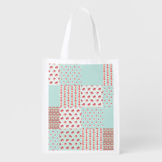 Not Too Shabby Roses Light Blue Patchwork Grocery Bag
