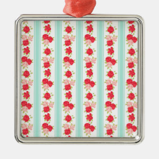 Not Too Shabby Roses Light Blue Stripes Pattern Metal Ornament