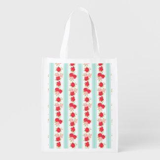 Not Too Shabby Roses Light Blue Stripes Pattern Reusable Grocery Bag