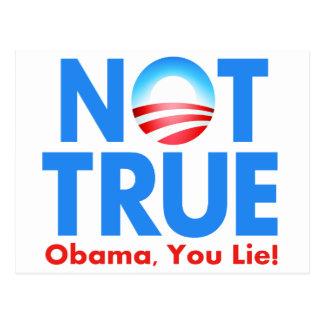 Not True Obama You Lie Postcard