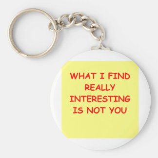 not you basic round button keychain
