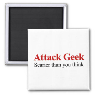 Not your average nerd, attack geek 2 inch square magnet