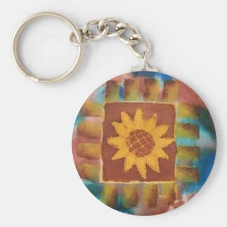 Not Your Granny's Sunflower Quilt Square Keychain