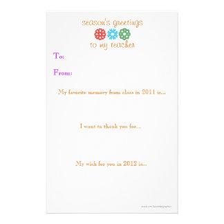 Nota 2011 - 2012 del regalo de vacaciones del prof papelería de diseño