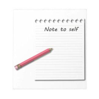Nota al papel y al lápiz del uno mismo bloc de notas
