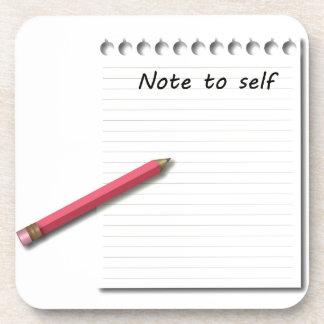 Nota al papel y al lápiz del uno mismo posavasos