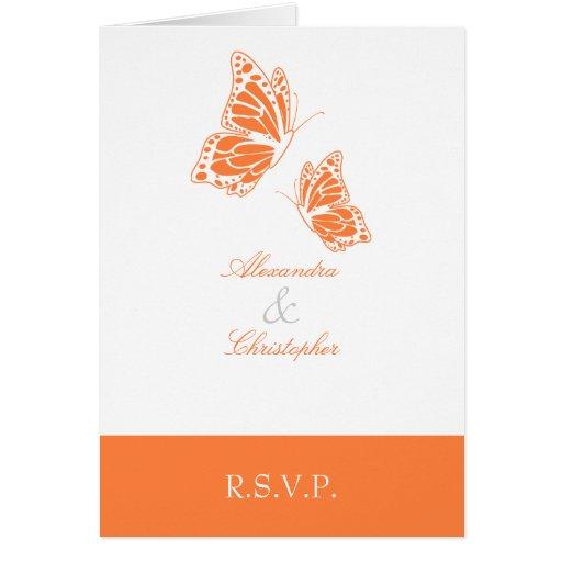 Nota anaranjada simple de RSVP de la mariposa Tarjeta Pequeña