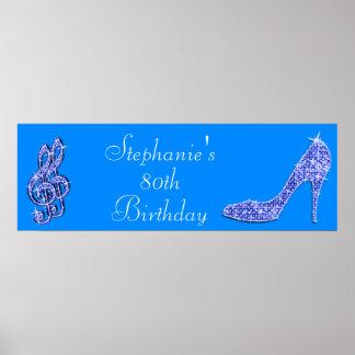 Nota azul de la música y cumpleaños del estilete posters