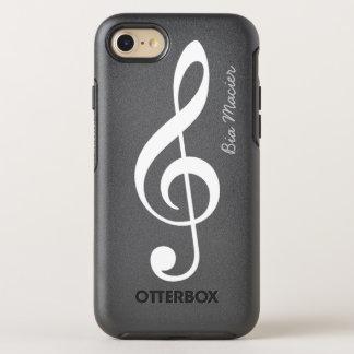 nota blanco y negro de la música con nombre funda OtterBox symmetry para iPhone 7