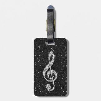 Nota brillante glamorosa de la música del diamante etiquetas de equipaje