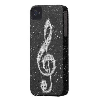 Nota brillante glamorosa impresa de la música del carcasa para iPhone 4