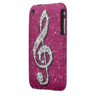 Nota brillante glamorosa impresa de la música del  iPhone 3 cárcasas