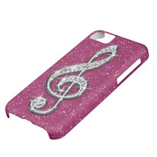 Nota brillante glamorosa impresa de la música del funda iPhone 5C