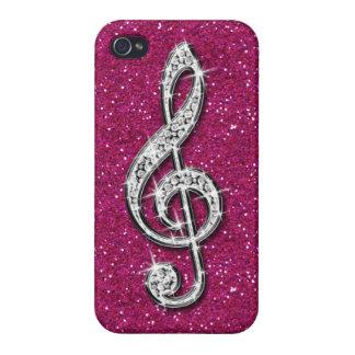 Nota brillante glamorosa impresa de la música del iPhone 4/4S carcasa