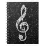 Nota brillante glamorosa impresa de la música del  cuaderno