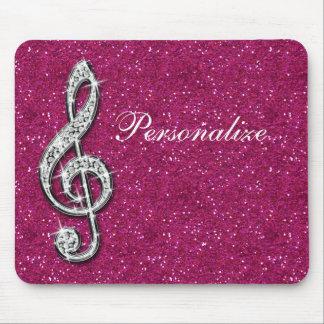 Nota brillante glamorosa personalizada de la músic tapetes de raton