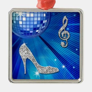 Nota brillante y tacón de aguja azules/de plata de adorno