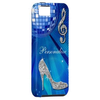 Nota brillante y tacón de aguja azules/de plata de funda para iPhone SE/5/5s