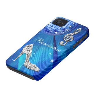 Nota brillante y tacón de aguja azules/de plata de iPhone 4 funda
