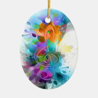 Nota colorida y fresca hermosa de la música de la adorno navideño ovalado de cerámica