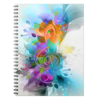 Nota colorida y fresca hermosa de la música de la  libros de apuntes con espiral