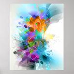 Nota colorida y fresca hermosa de la música de la  posters