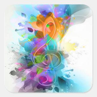 Nota colorida y fresca hermosa de la música de la pegatina cuadrada