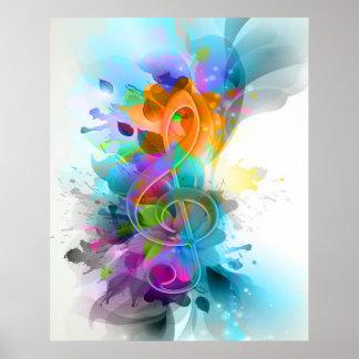 Nota colorida y fresca hermosa de la música de la  póster