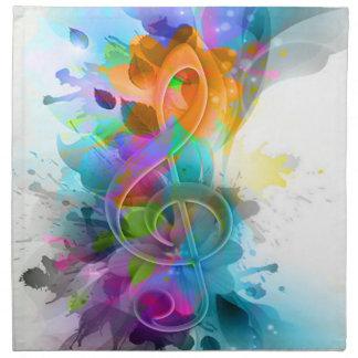 Nota colorida y fresca hermosa de la música de la  servilletas de papel