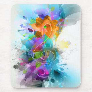 Nota colorida y fresca hermosa de la música de la alfombrilla de ratón