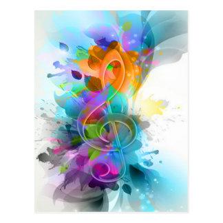 Nota colorida y fresca hermosa de la música de la tarjetas postales