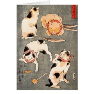 Nota Crad de los gatos de Kuniyoshi cuatro Tarjeta Pequeña
