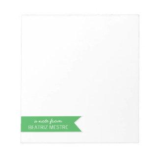 Nota de encargo del cuaderno de notas A… del verde Libretas Para Notas