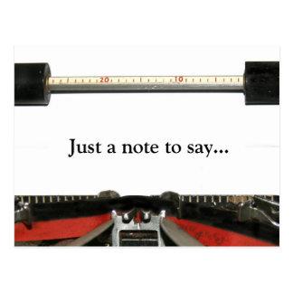Nota de la máquina de escribir postal