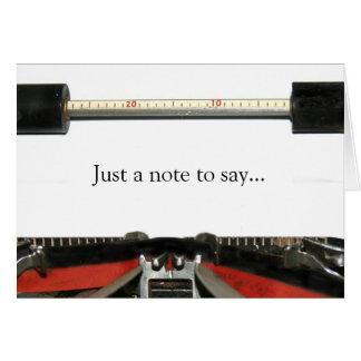 Nota de la máquina de escribir tarjeta de felicitación